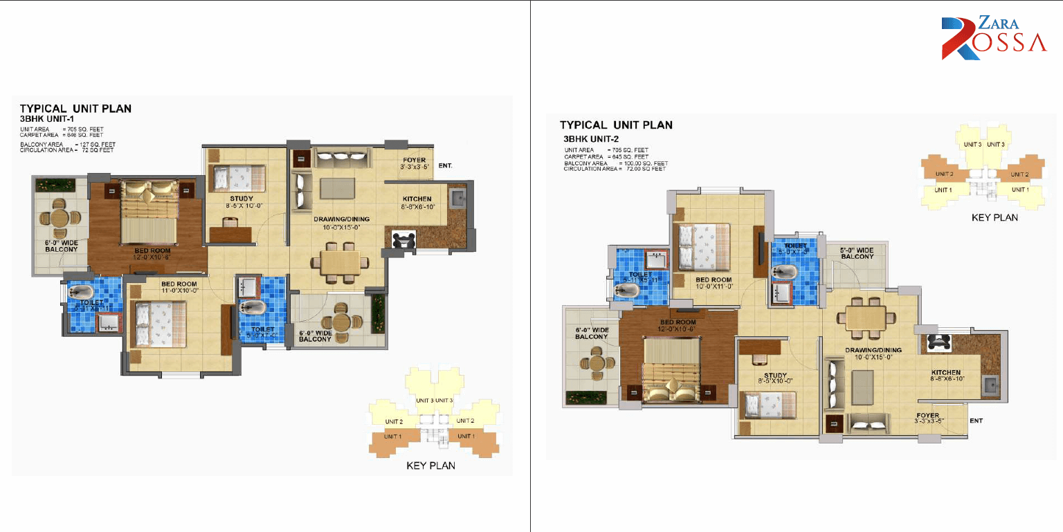3BHK Unit 1 and 2 Layout Plan