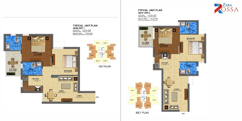 2BHK Unit 1 - 2 Layout Plan