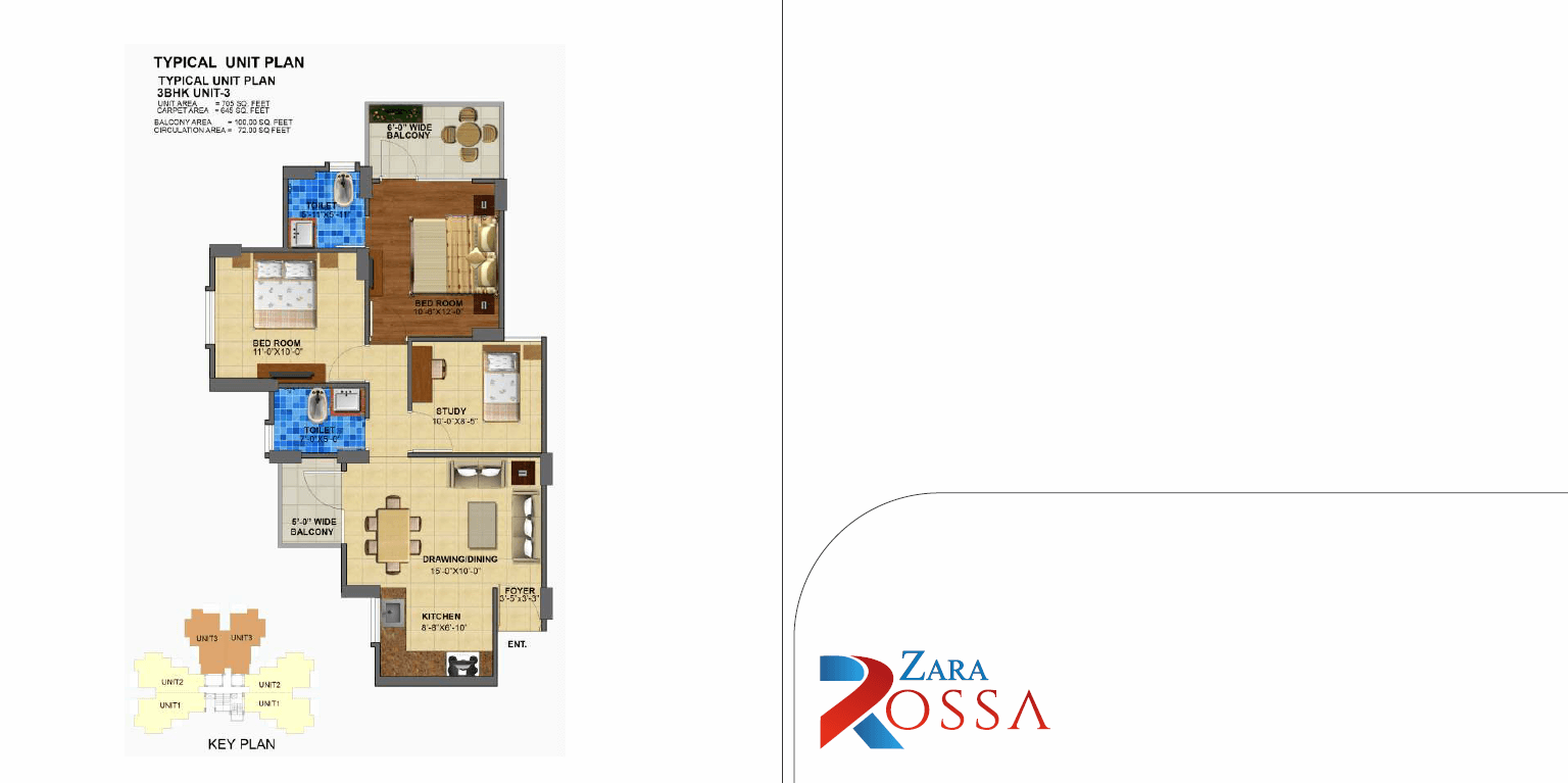 3BHK Unit Type - 3 Layout Plan
