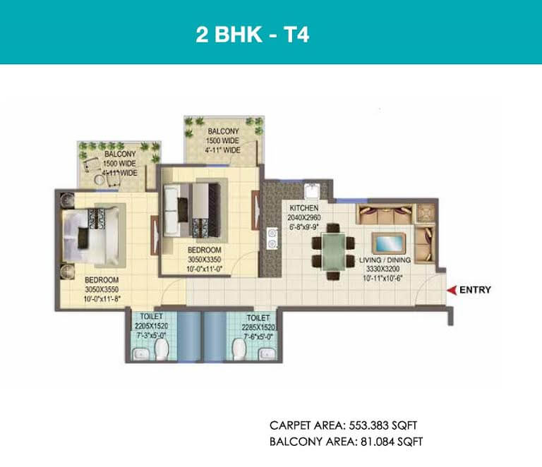 2 BHK TYPE 3 Layout Plan