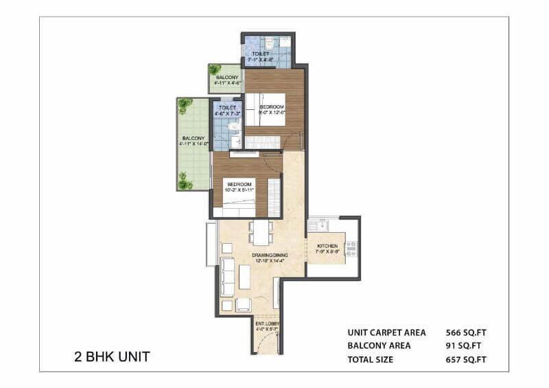 2BHK Unit Layout Plan