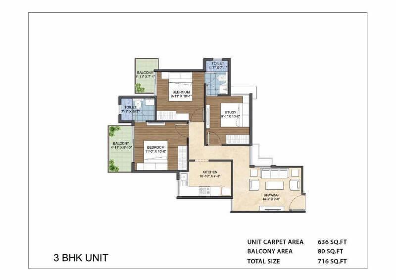 3BHK Unit Layout Plan