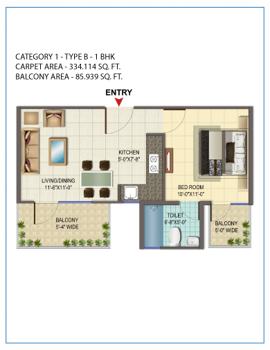 1BHK TYPE 2 Layout Plan