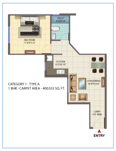 1BHK TYPE 1 Layout Plan
