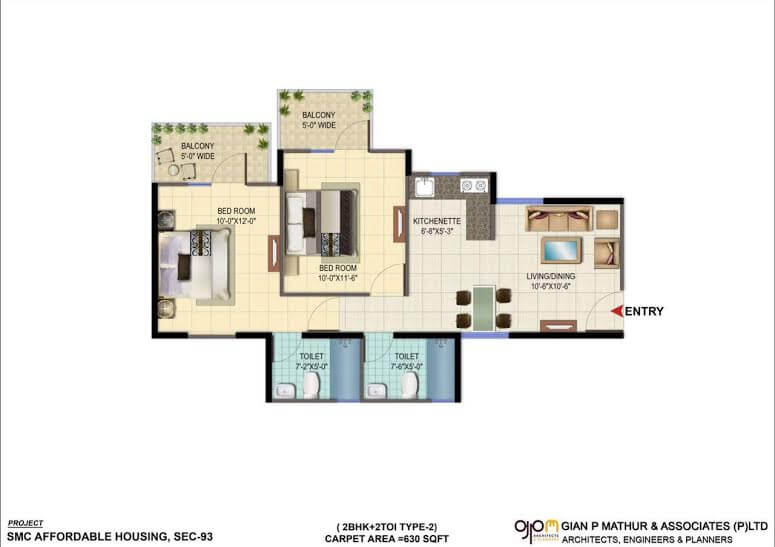 2BHK TYPE 2 Layout Plan