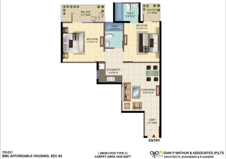 2BHK TYPE 1 Layout Plan