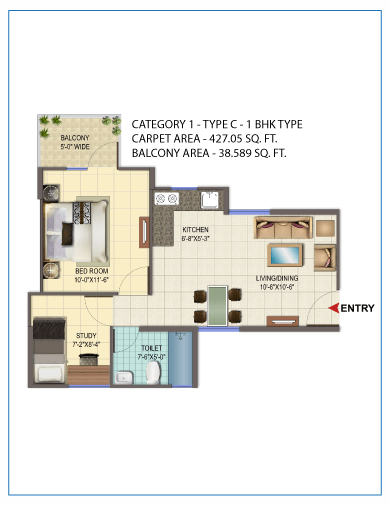 1BHK TYPE 3 Layout Plan