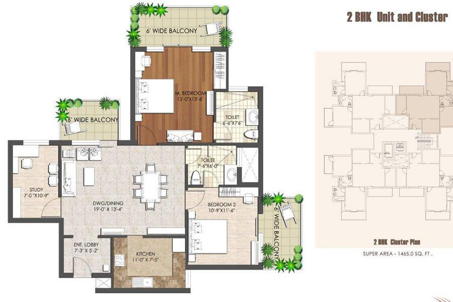 2 BHK Flat Layout Plan