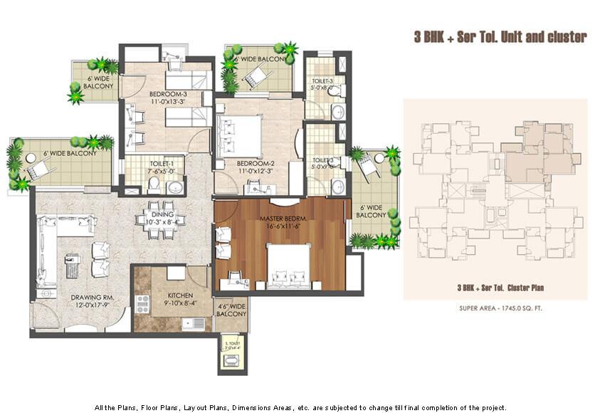 3 BHK Flat Layout Plan