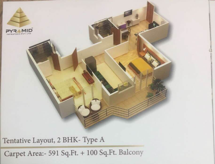 2BHK Type A Layout Plan