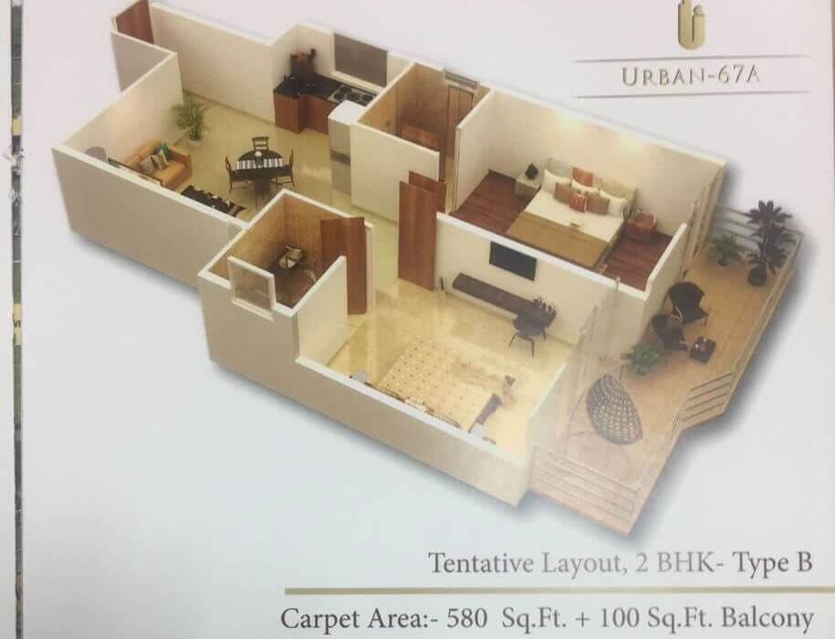 2BHK Type B Layout Plan