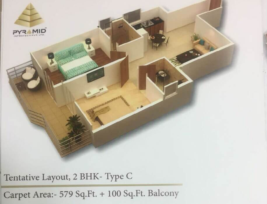 2BHK Type C Layout Plan