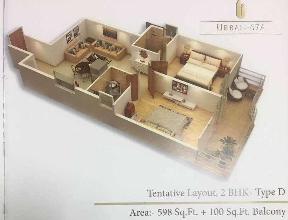 2BHK Type D Layout Plan