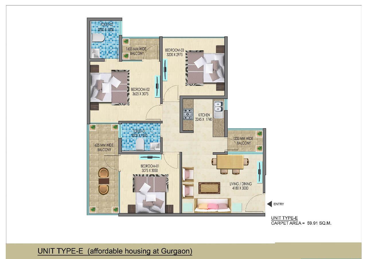 3BHK Type E Layout Plan