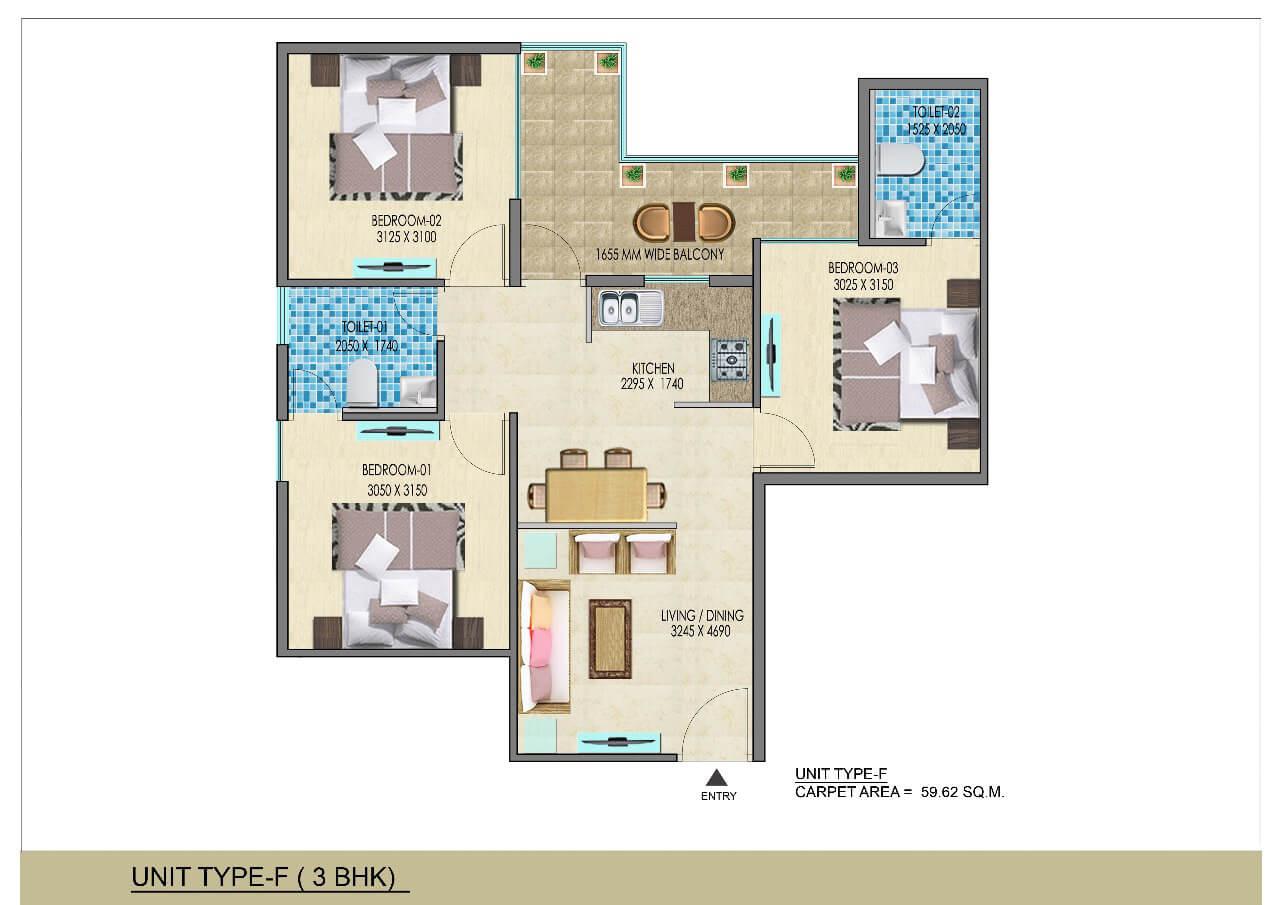 3BHK Type F Layout Plan