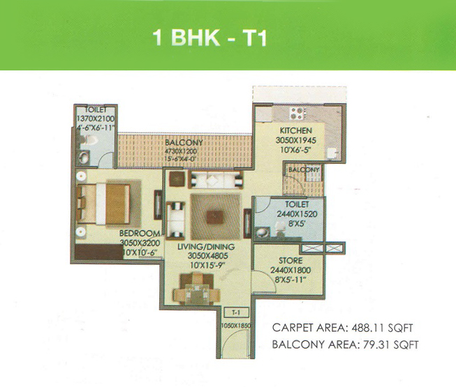 1 BHK Layout Plan