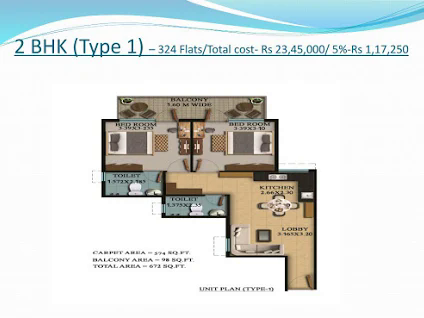 2 BHK Type 1 Layout Plan