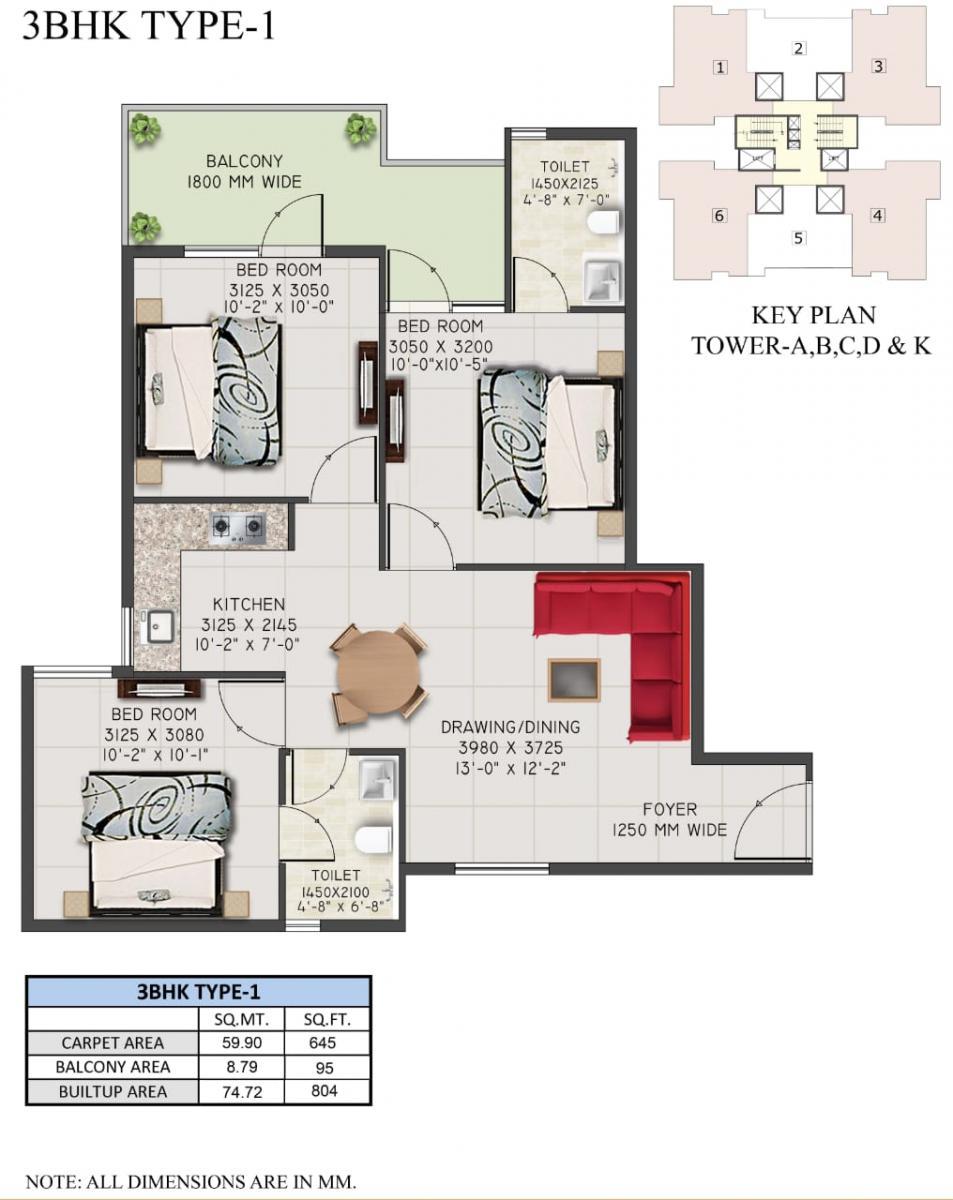 3 BHK Type1 Layout Plan
