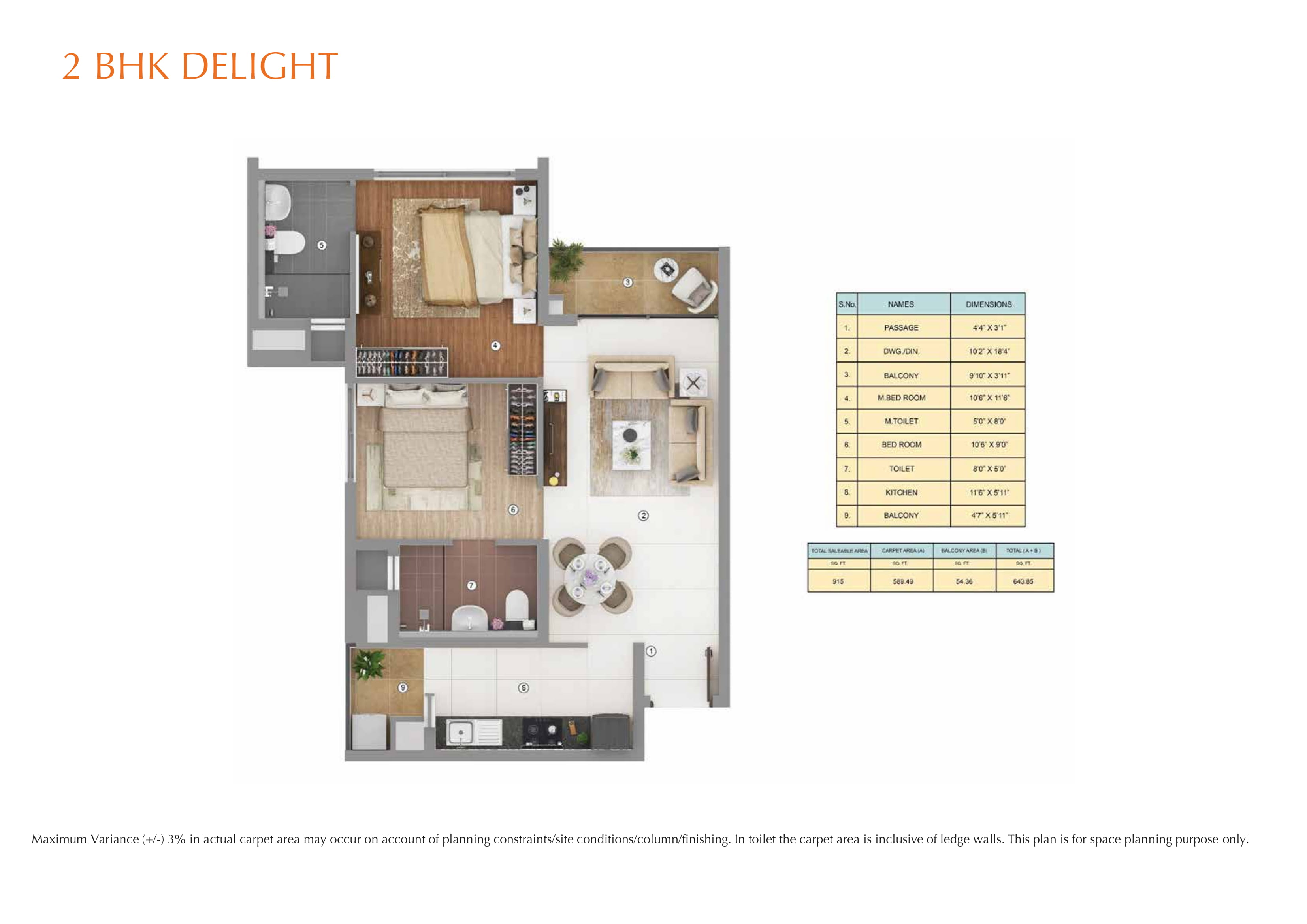 2BHK DELIGHT Layout Plan