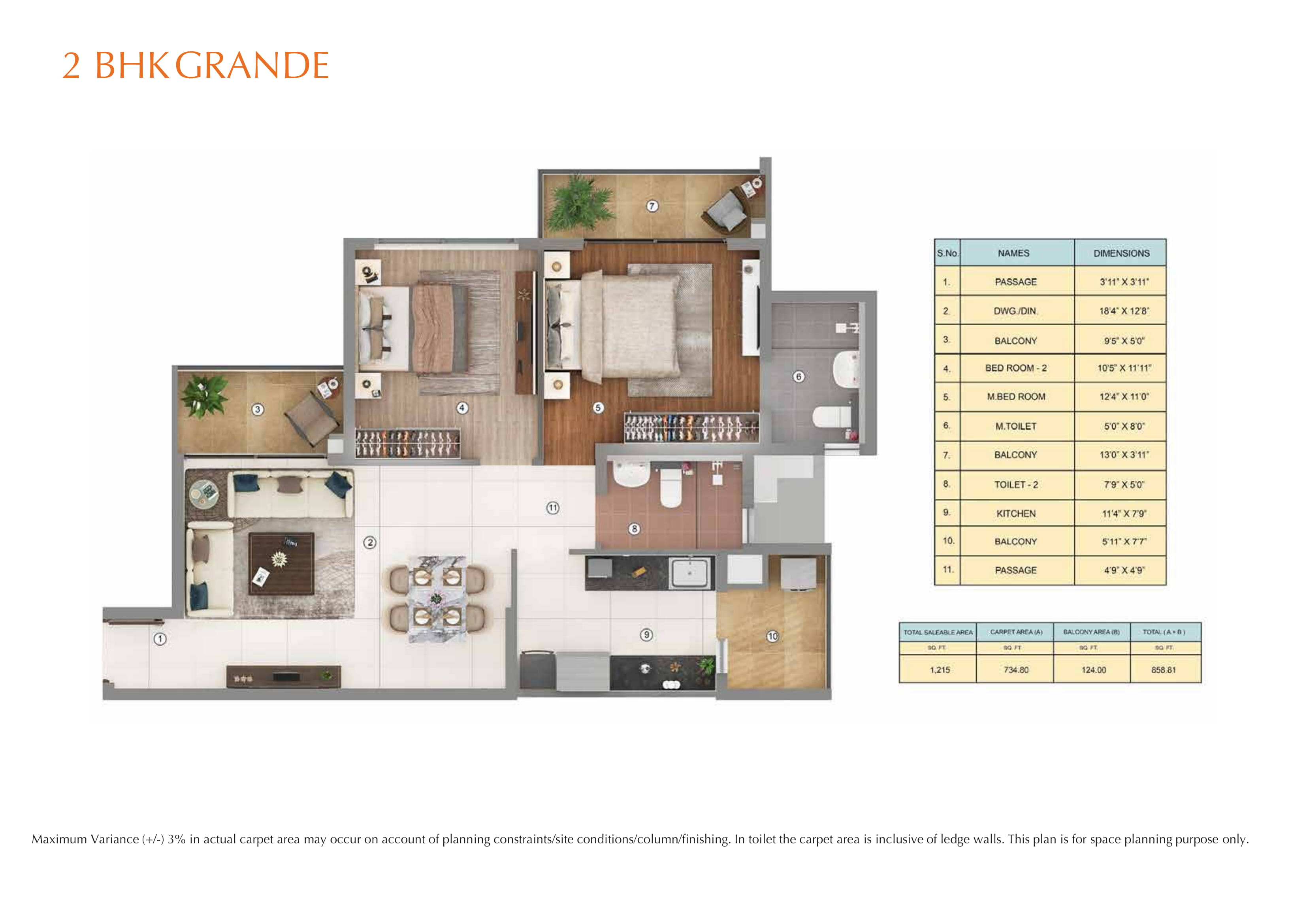 2BHK GRANDE Layout Plan
