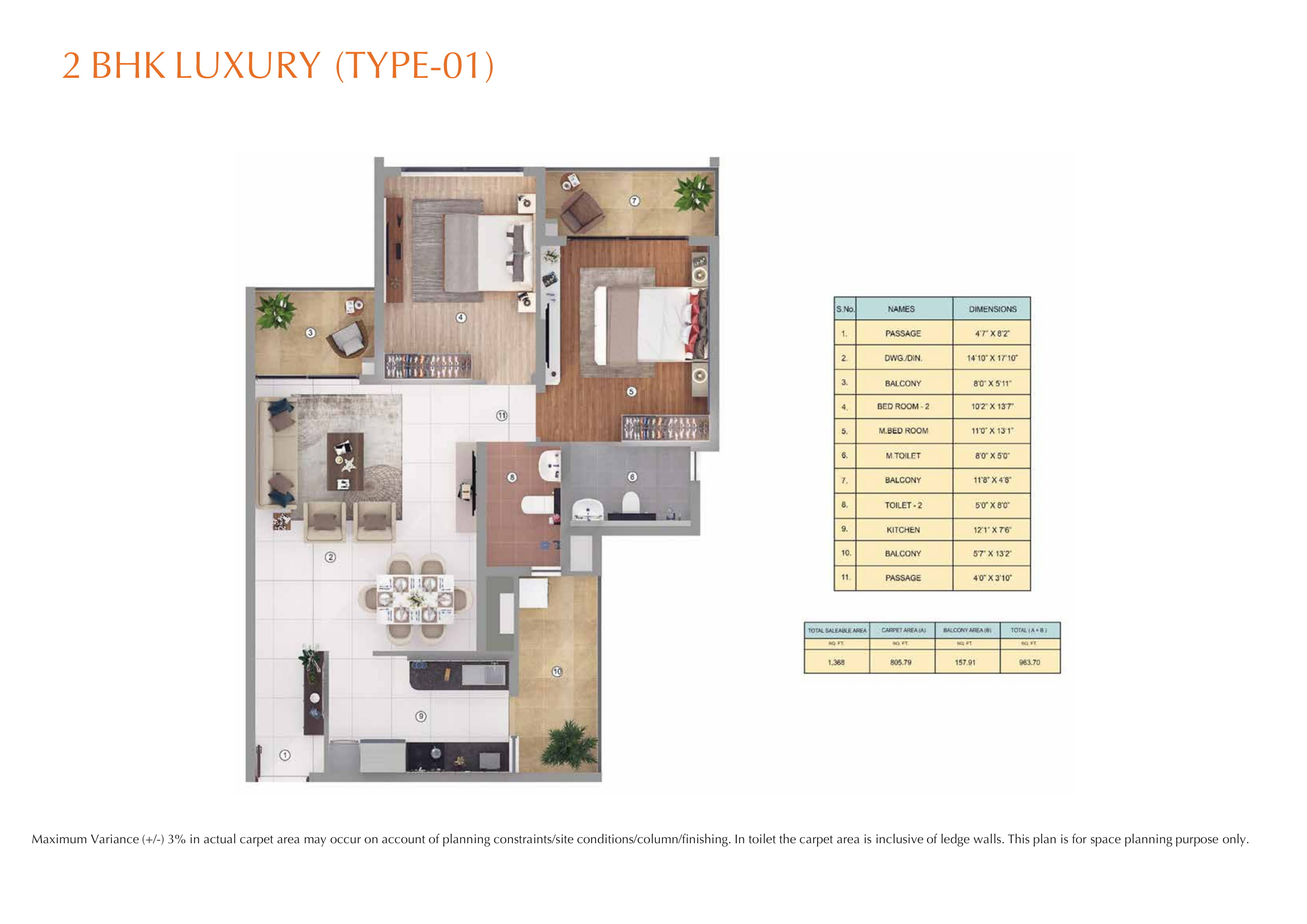 2BHK LURURY (TYPE-01) Layout Plan