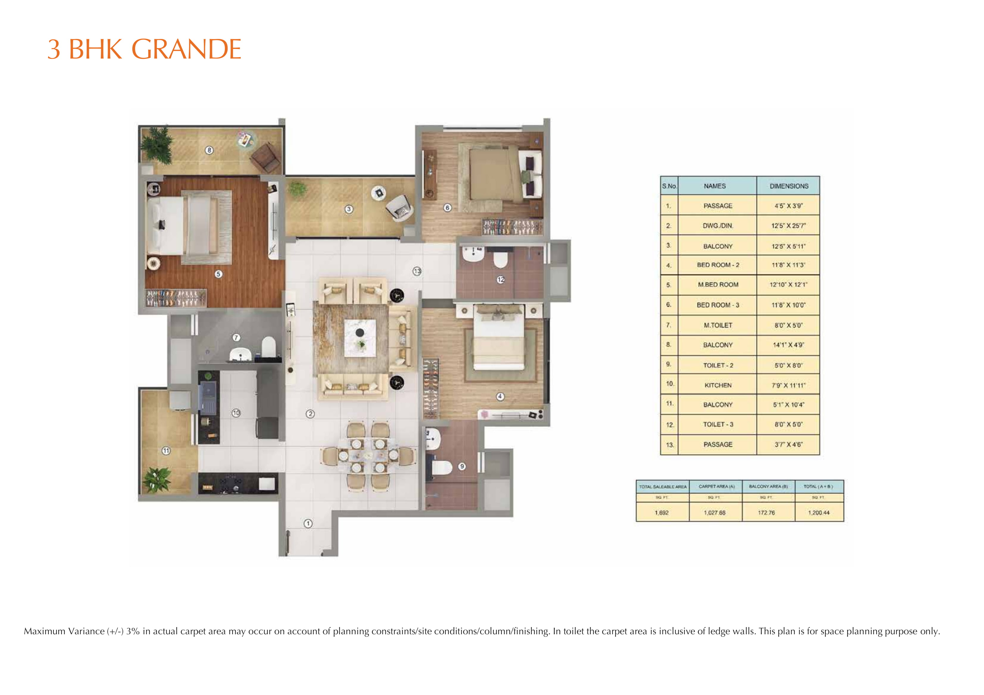3BHK GRANDE Layout Plan