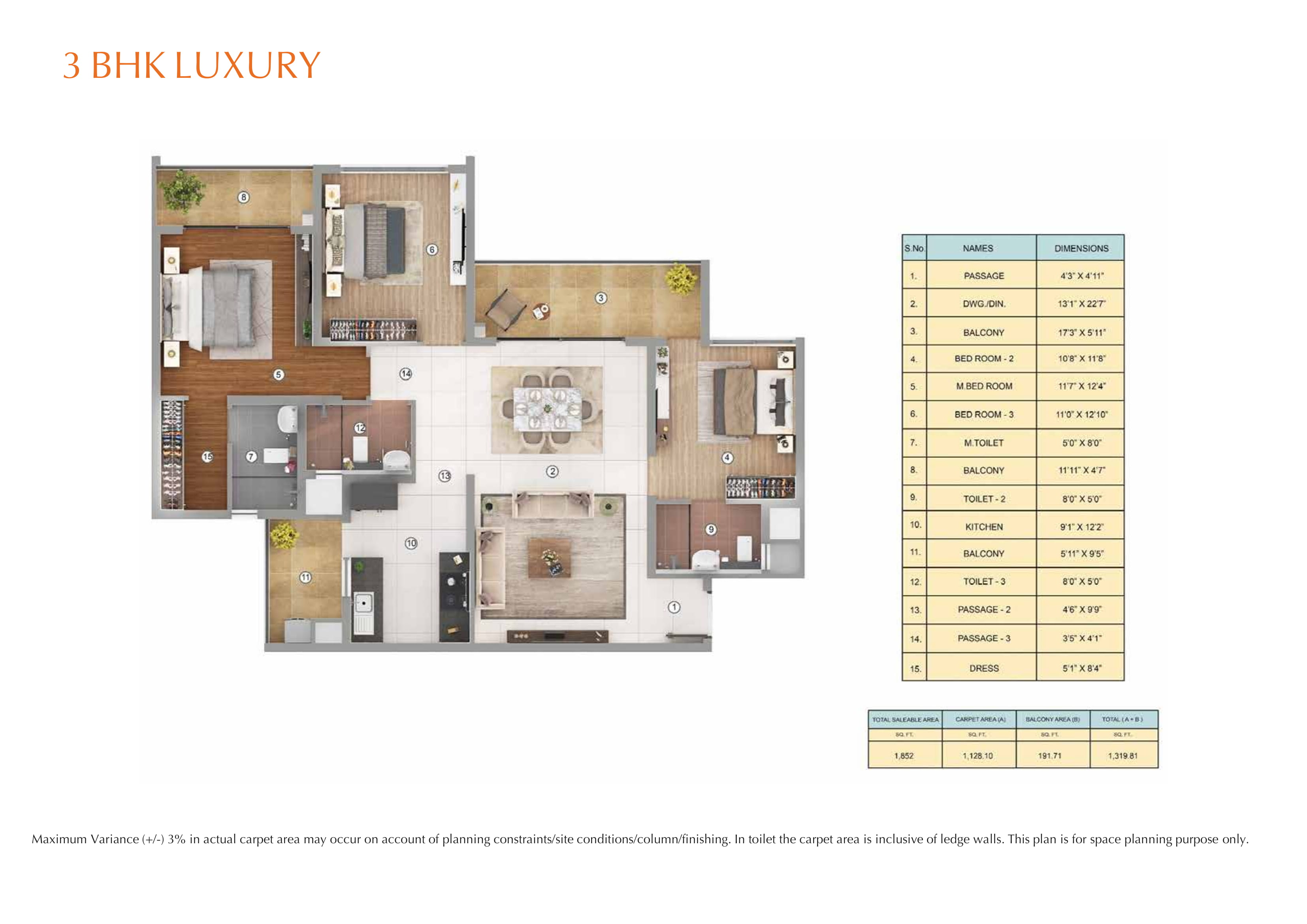 3BHK LURURY Layout Plan