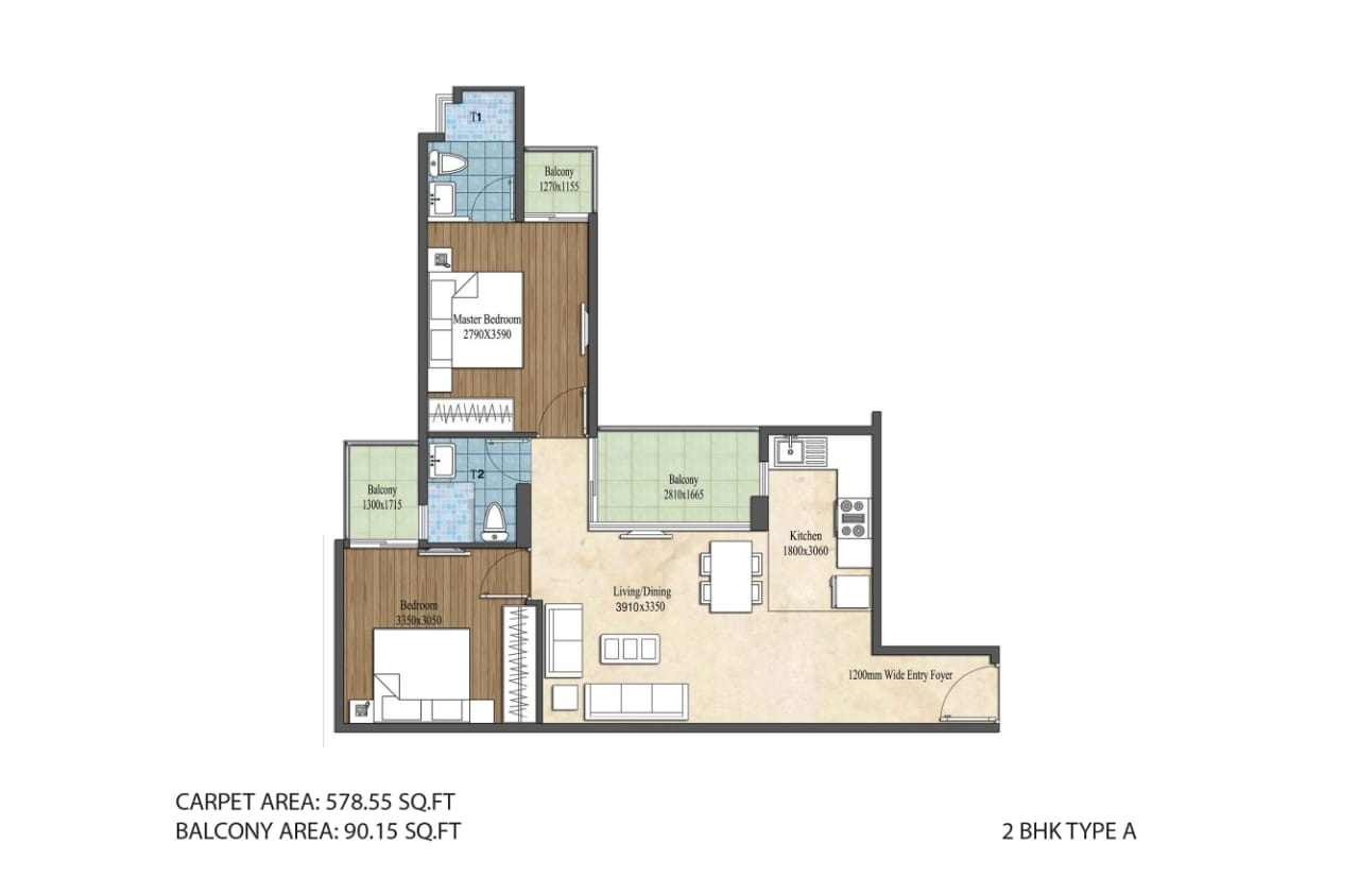 2 BHK Type A Layout Plan