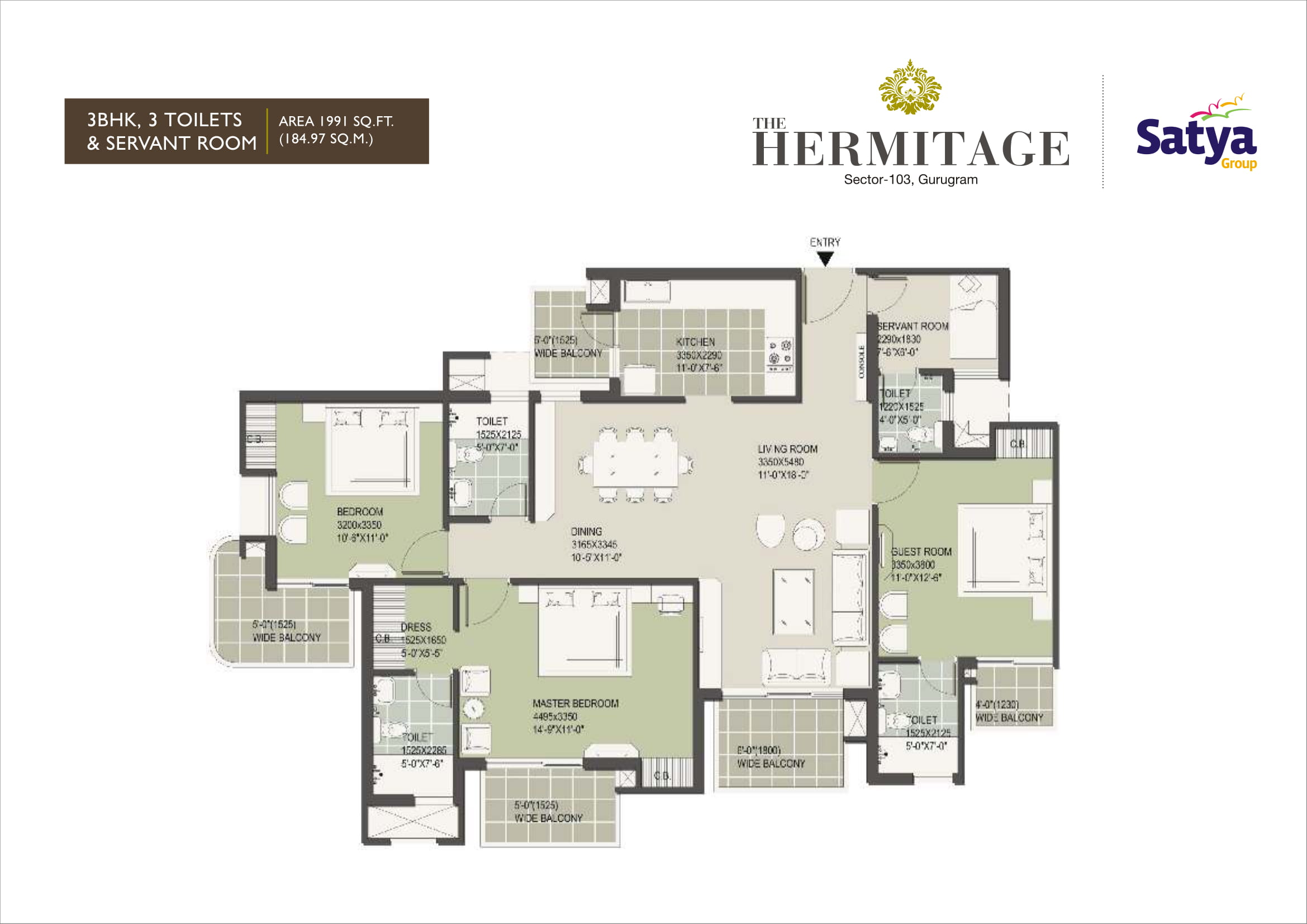 3BHK Layout Plan