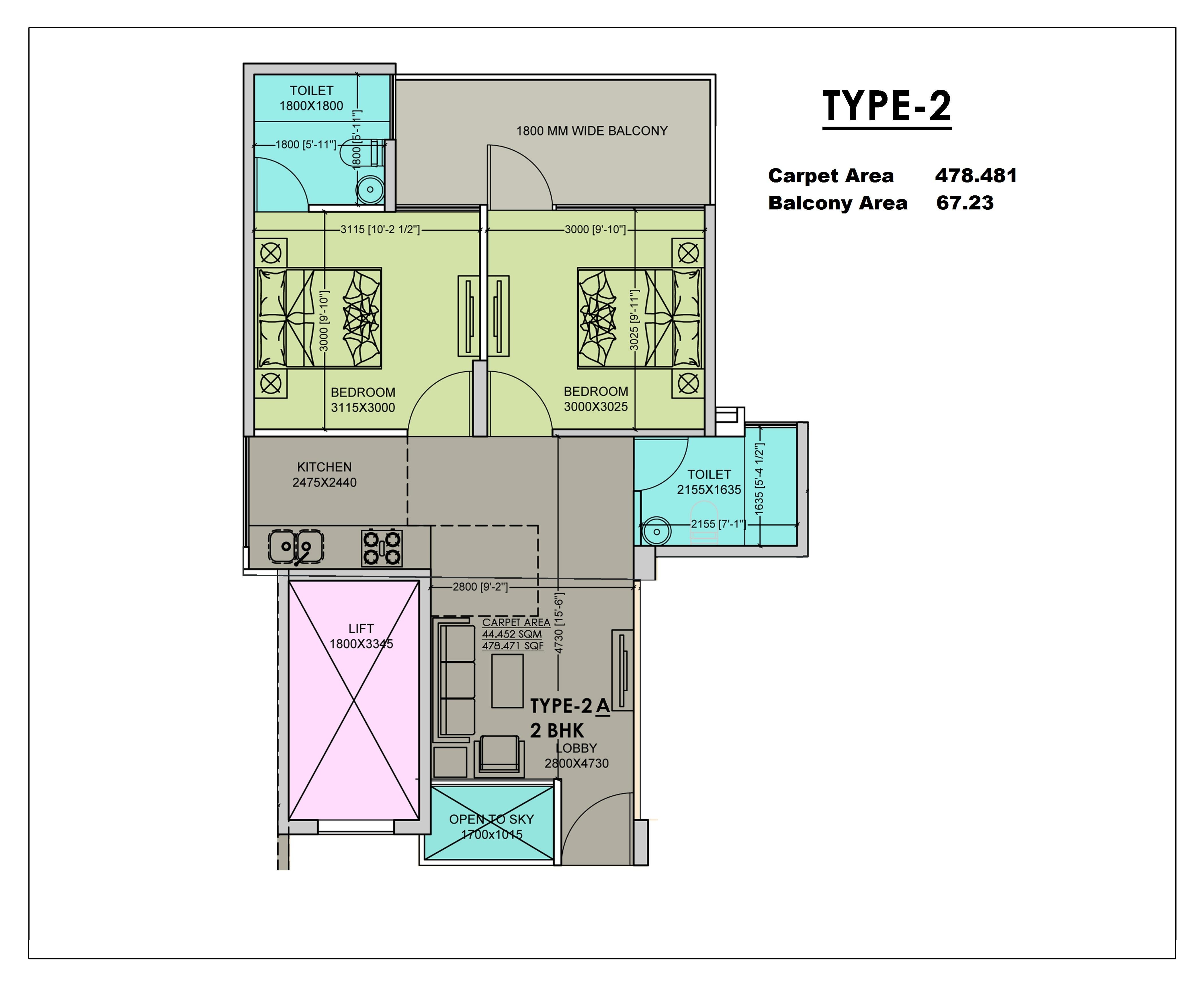 2 BHK Type 2 Layout Plan