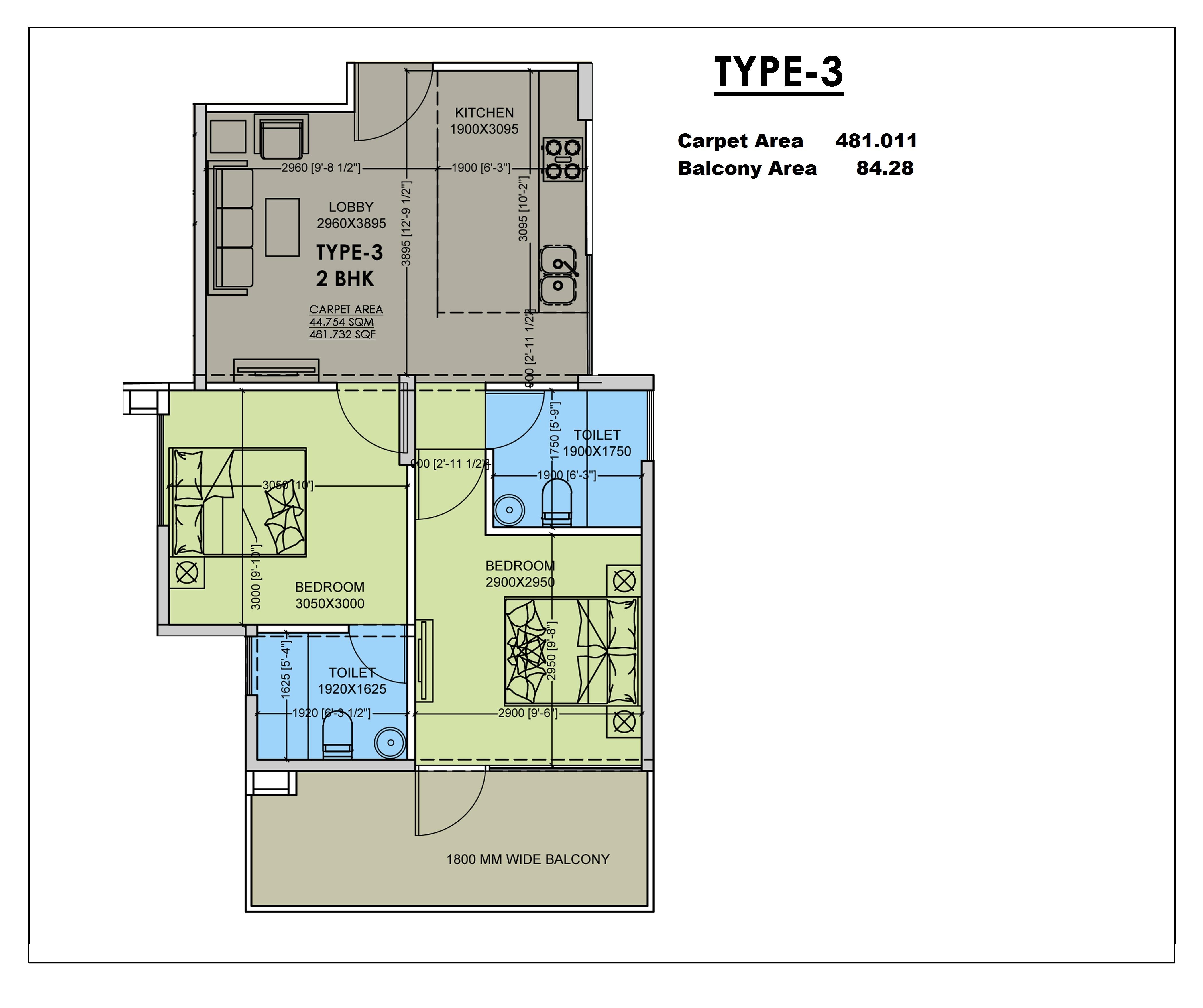 2 BHK Type 3 Layout Plan