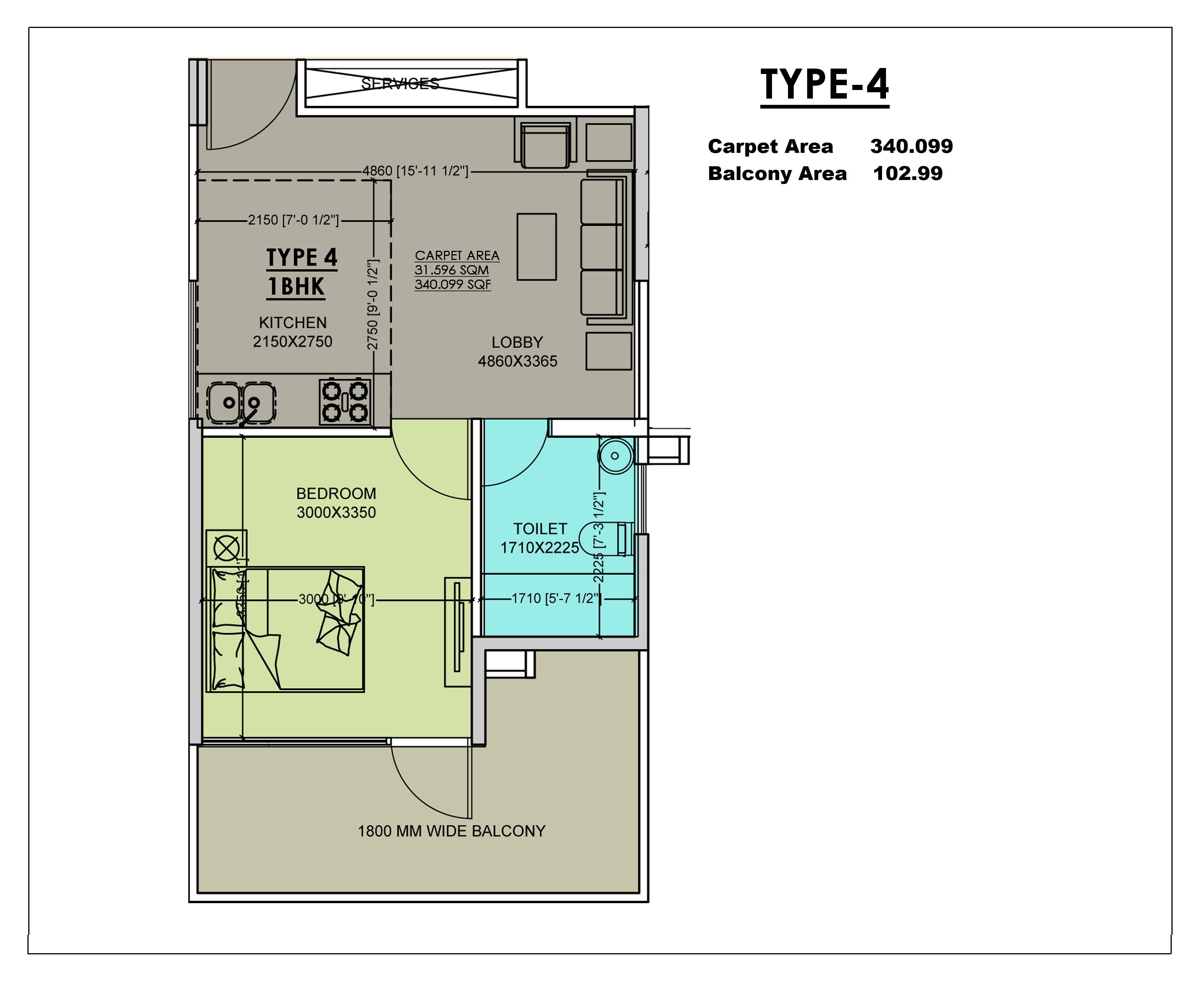 1 BHK Type 4 Layout Plan