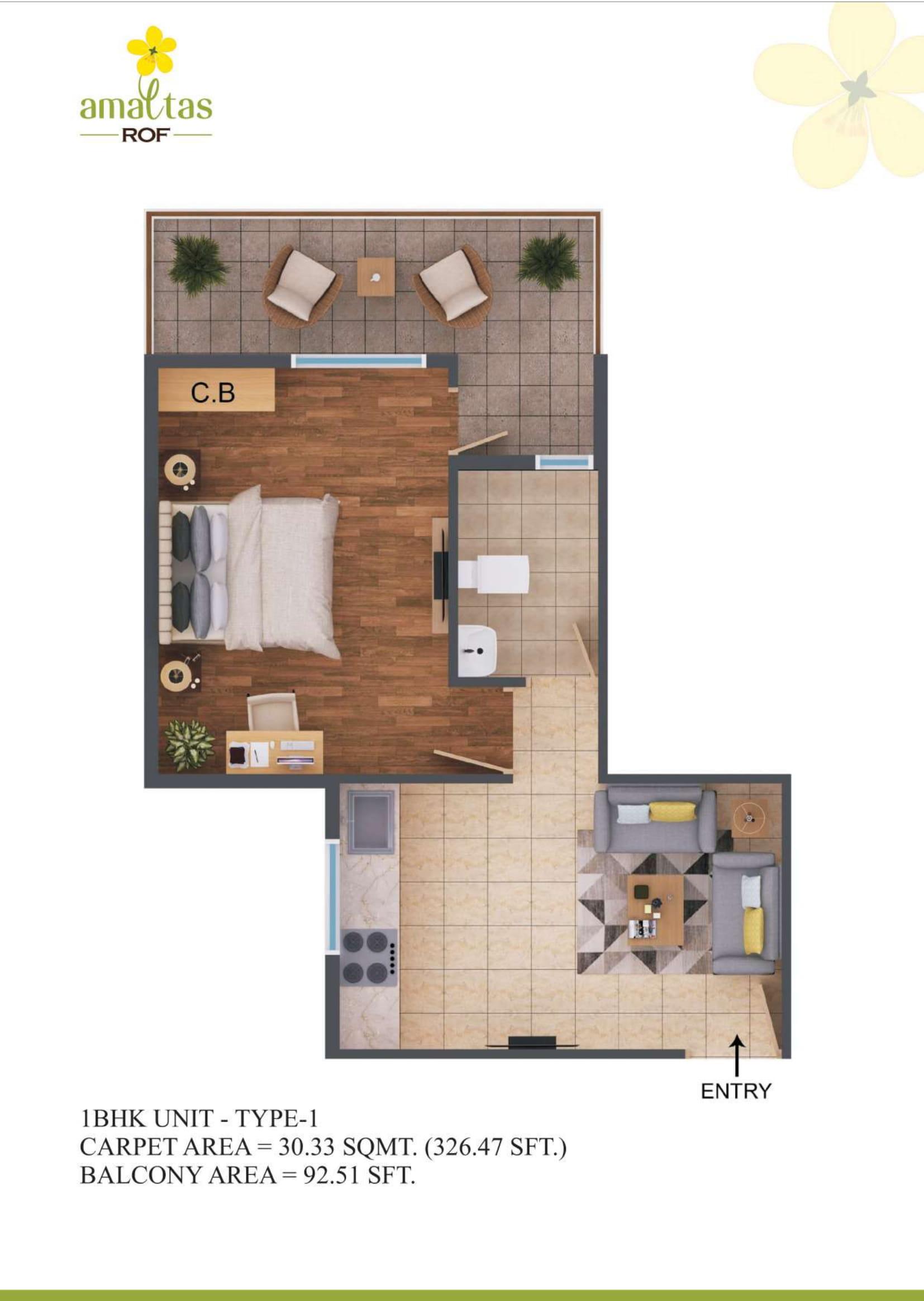 1 BHK 1 Layout Plan