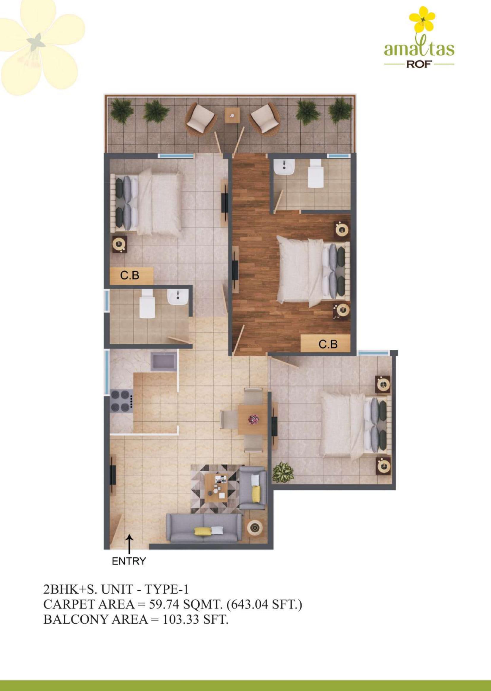 3 BHK 1 Layout Plan