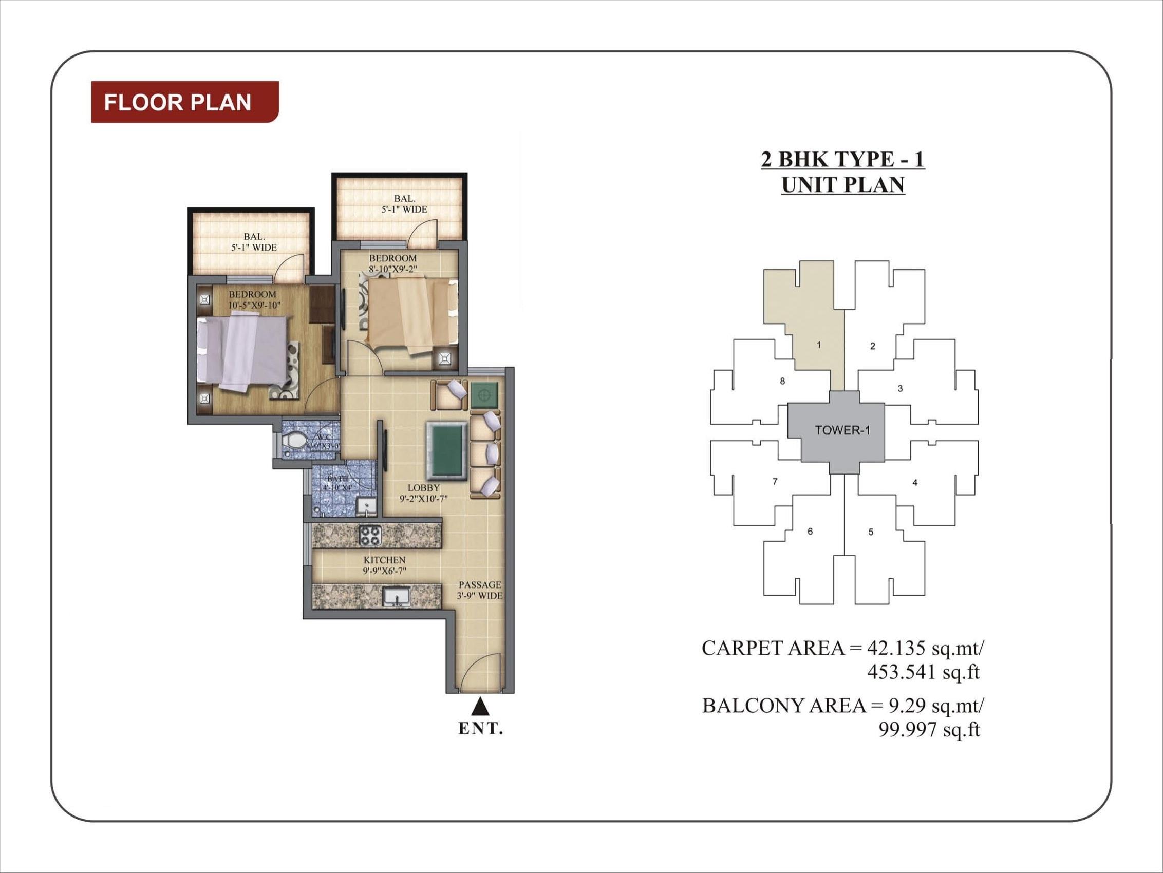 2 BHK-1 Layout Plan