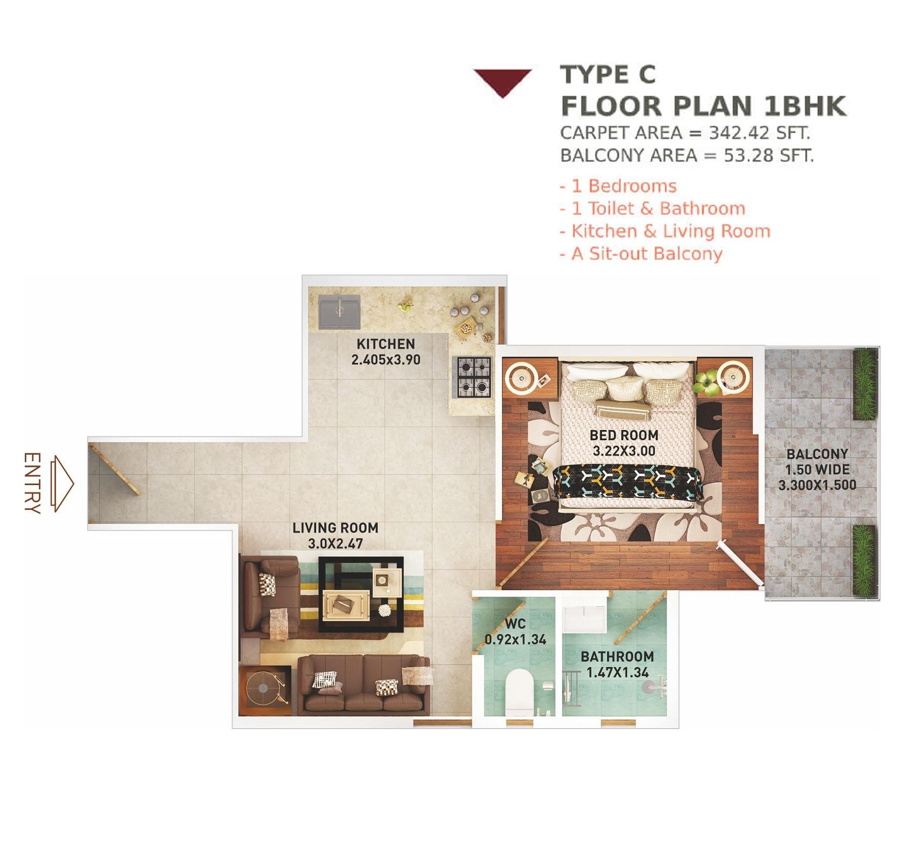 1 BHK Layout Plan