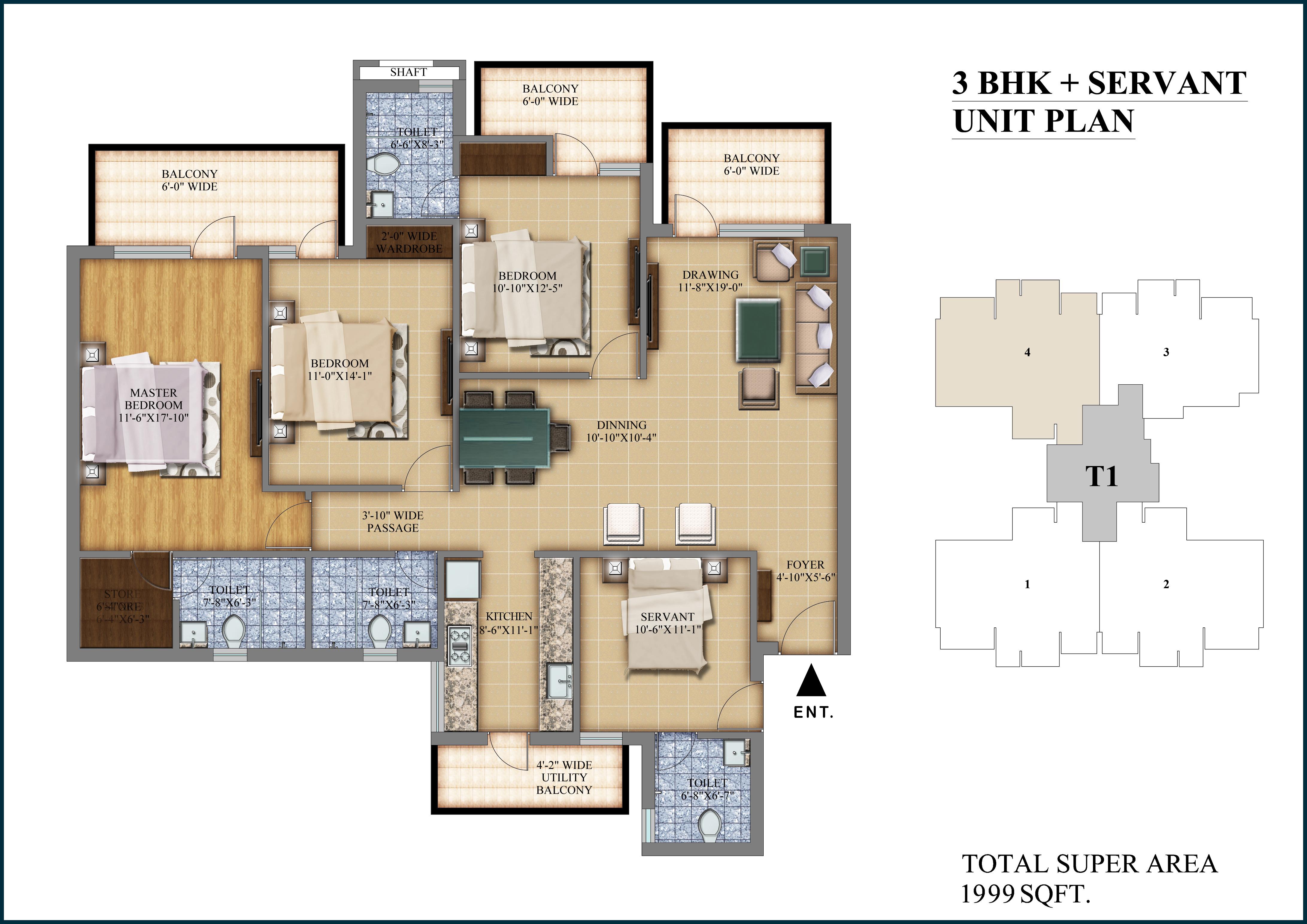 3 BHK +S Layout Plan