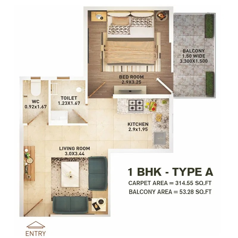1 BHK T A Layout Plan