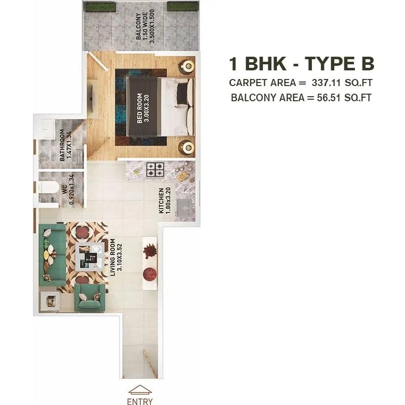 1 BHK T B Layout Plan