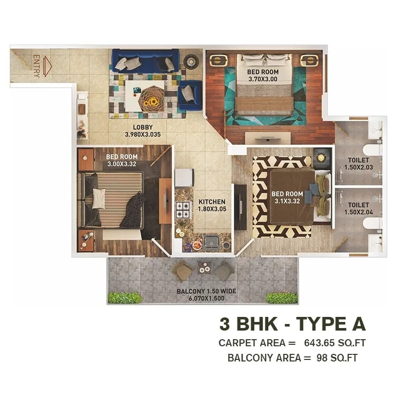 3 BHK T A Layout Plan