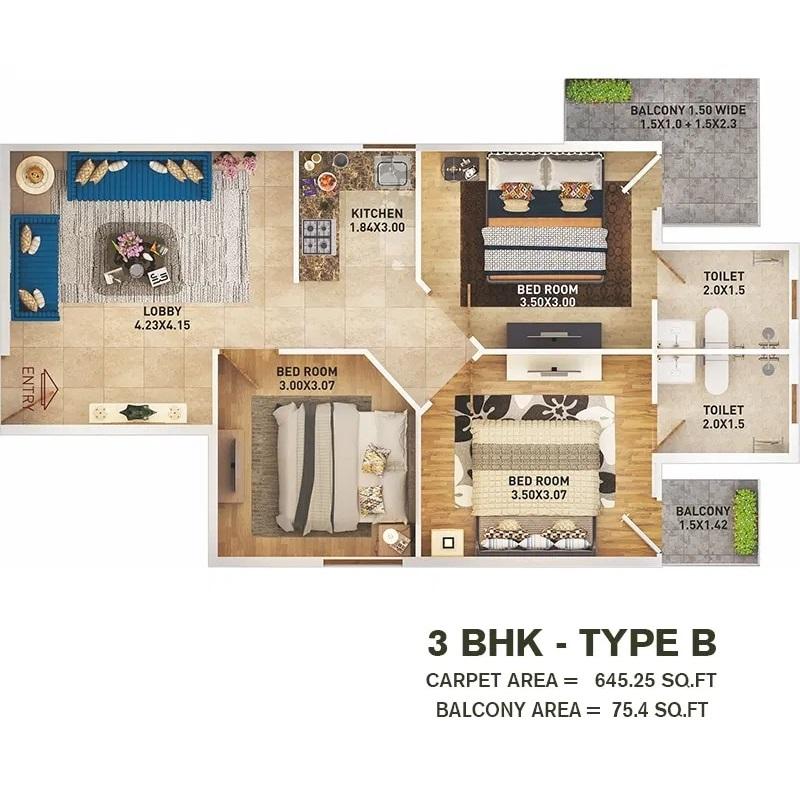 3 BHK T B Layout Plan